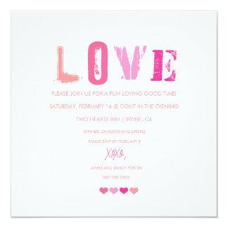 311 Love Hearts in a Row | White Invitation