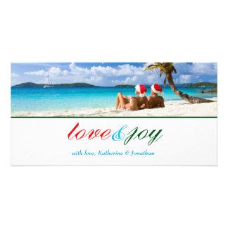 311-Love & Joy Custom Photo_Green Stripe Photo Greeting Card