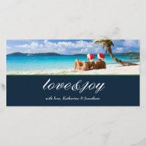 311-Love & Joy Custom Photo Navy Blue Holiday Card