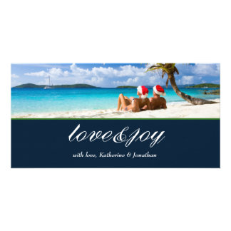 311-Love & Joy Custom Photo Navy Blue Customized Photo Card