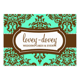 311 Lovey Dovey Damask Appointment Card Mint Choco Large Business Cards (Pack Of 100)