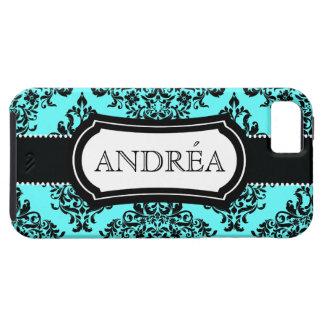 311 Lovey Dovey Damask Aqua Blue iPhone SE/5/5s Case