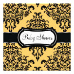 311 Lovey Dovey Damask Baby Shower Canary Yellow Announcements