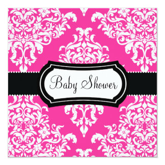 311 Lovey Dovey Damask Baby Shower Hot Pink Card