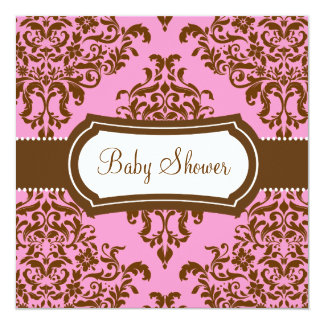 311 Lovey Dovey Damask Baby Shower Pink Chocolate Card