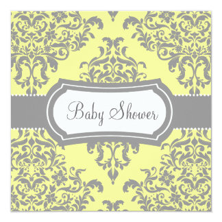 311 Lovey Dovey Damask Baby Shower Yellow Gray Card