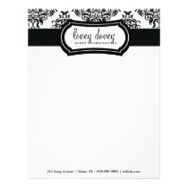 311 Lovey Dovey Damask Black White Letterhead