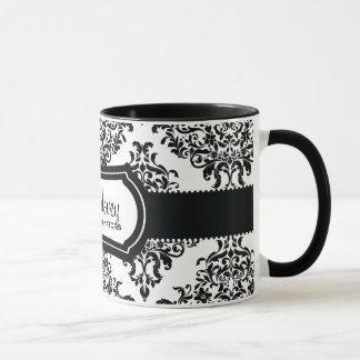 311 Lovey Dovey Damask Black White Mug