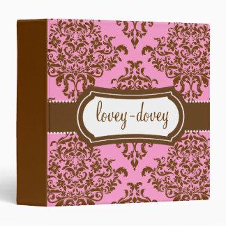 311 Lovey Dovey Damask Pink Chocolate Binder