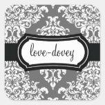 311 Lovey Dovey Damask Sticker Grey