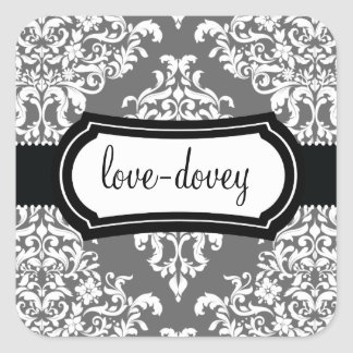 311 Lovey Dovey Damask Sticker Grey