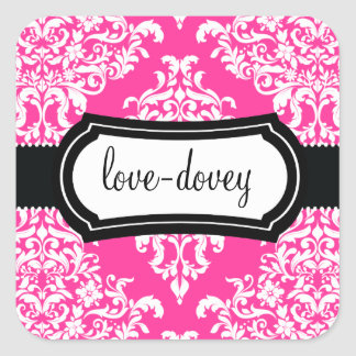 311 Lovey Dovey Damask Sticker Hot Pink