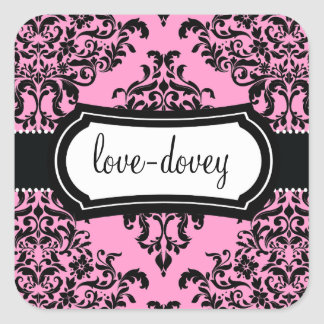311 Lovey Dovey Damask Sticker Pink