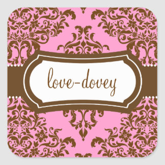 311 Lovey Dovey Damask Sticker Pink Chocolate