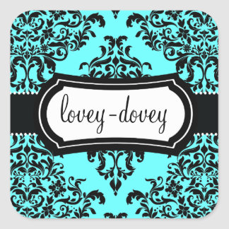 311 Lovey Dovey Damask Sticker Turquoise Blue