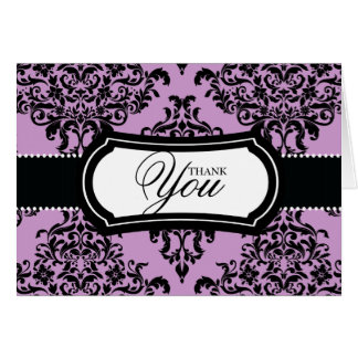 311 Lovey Dovey Damask Thank You Lilac Card