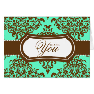 311 Lovey Dovey Damask Thank You Mint Chocolate Card