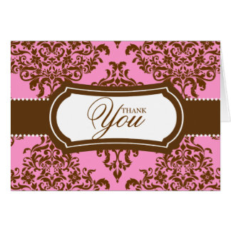 311 Lovey Dovey Damask Thank You Pink Chocolate Card