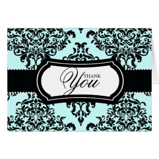 311 Lovey Dovey Damask Thank You Something Blue Stationery Note Card