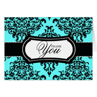 311 Lovey Dovey Damask Thank You Turquoise Blue Card