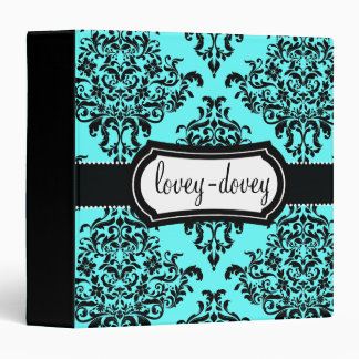 311 Lovey Dovey Damask Turquoise Blue 3 Ring Binder