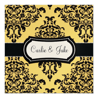 311 Lovey Dovey Damask Wedding Invite Canary Yello