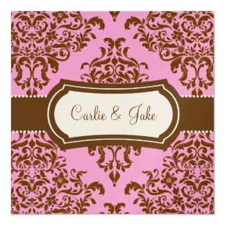 311 Lovey Dovey Damask Wedding Invite Pink Chocola