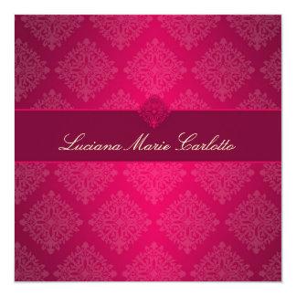 311 Luciana Hot Pink Fade Damask Invitation