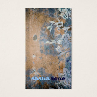 311-Lusciously Rustic Orange & Blue Business Card