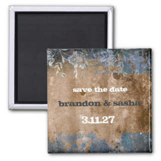 311-Lusciously Rustic Save the Date 2 Inch Square Magnet