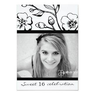 311-Lush Black & White Sweet 16 or Graduation Card