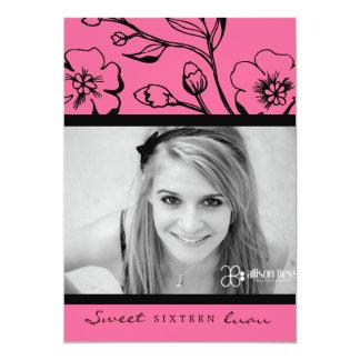 """311-Lush dulce rosado 16 o graduación Invitación 5"""" X 7"""""""