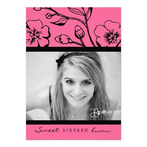 311-Lush Pink Sweet 16 or Graduation Custom Invitations