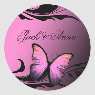 311 Lustrous Butterfly Pink Pout Classic Round Sticker
