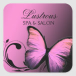 311 Lustrous Butterfly Pink Pout Square Sticker