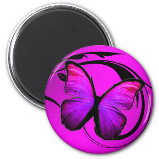311 Lustrous Butterfly Pink Purple 2 Inch Round Magnet