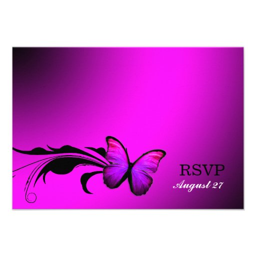 311 Lustrous Butterfly Pink Purple RSVP Personalized Invitation