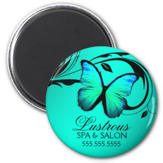 311 Lustrous Butterfly Turquoise Blue 2 Inch Round Magnet