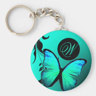 311 Lustrous Butterfly Turquoise Blue Keychain