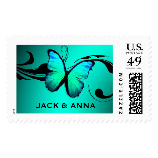311 Lustrous Butterfly Turquoise Blue Stamp