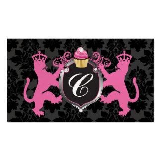 311 Luxe Lion Heraldry Cupcake Pink Metallic Pearl Business Card