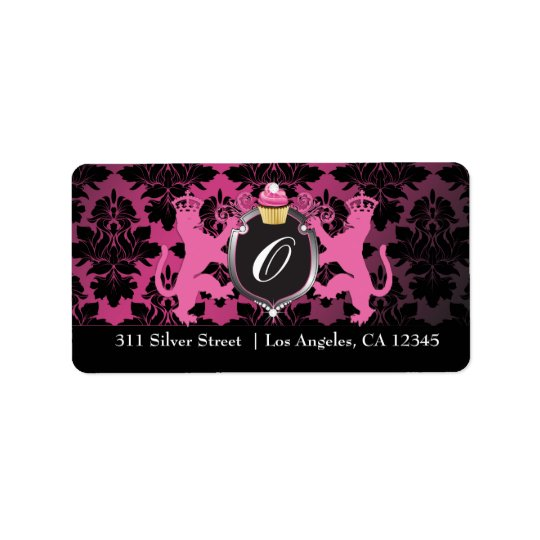 311 Luxe Lion Heraldry Pink Cupcake Label