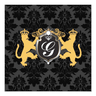 311 Luxe Lion Heraldry Yellow Baby Shower Card