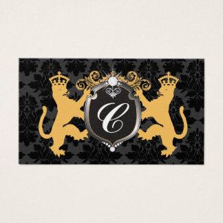 311 Luxe Lion Heraldry YEllow Metallic Pearl Business Card