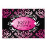 311-Luxuriously damasco rosado RSVP Invitacion Personal