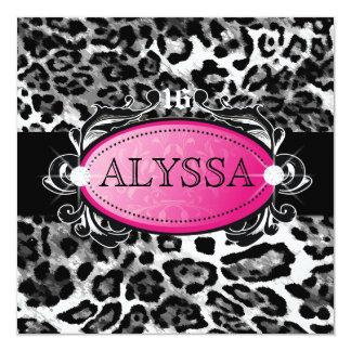 311 Luxuriously Leopard Damask Sweet 16 Card