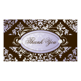 311-Luxuriously Lilac Brown Damask Thank You Tags Business Card