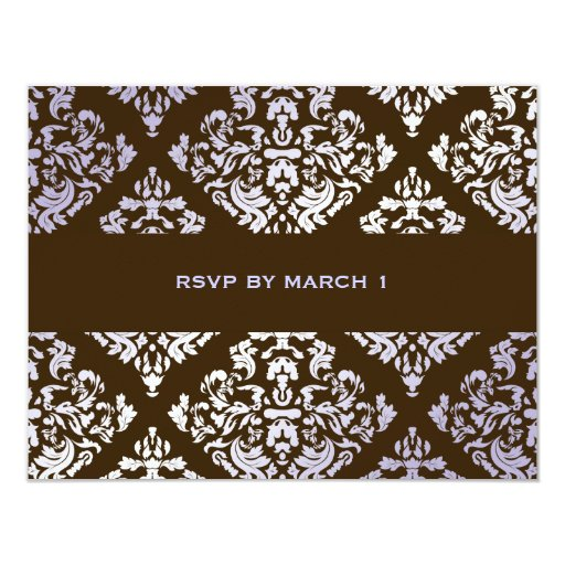 311-Luxuriously Lilac N Brown Damask RSVP Custom Announcements