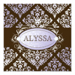 311-Luxuriously Lilac N Brown Damask Sweet 16 Personalized Invites