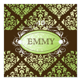311-Luxuriously Lime Brown Damask 40 and Fabulous Card
